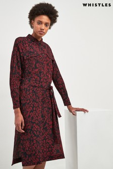 Whistles Red Jungle Cat Dress