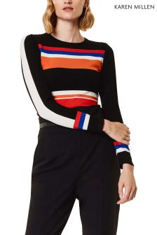 Karen Millen Black Graphic Stripe Knit Jumper