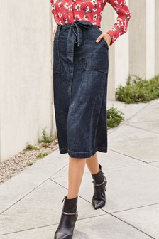 Belted A-Line Midi Skirt