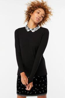 Monsoon Black Elvie Embroidered Scallop Collar Jumper
