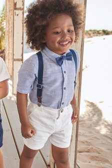 Shirt, Shorts, Braces And Bow Tie Set (3mths-7yrs)