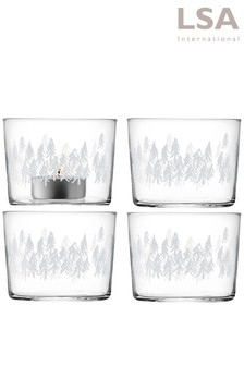 Set of 4 LSA International Fir Tea Light Holders