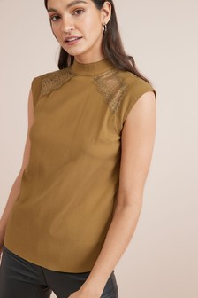 Lace Neck Detail Sleeveless Top