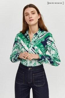 Warehouse Green Scarf Print Shirt