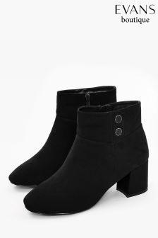 Evans Black Extra Wide Fit Button Detail Ankle Boot