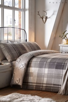 Fusion Brushed Cotton Colville Check Duvet Cover and Pillowcase Set