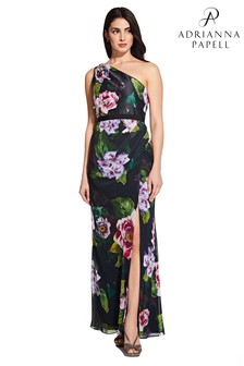 Adrianna Papell Black Petite Printed One Shoulder Gown