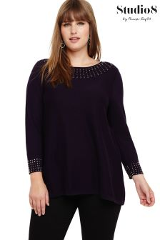 Studio 8 Purple Zelda Stud Neck Jumper