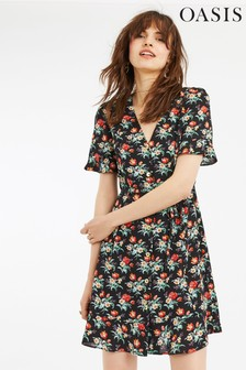 Oasis Black Petunia Button Skater Dress