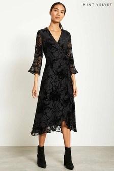 Mint Velvet Black Ellie Devore Wrap Dress