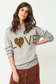 Love Leopard Slogan Jumper