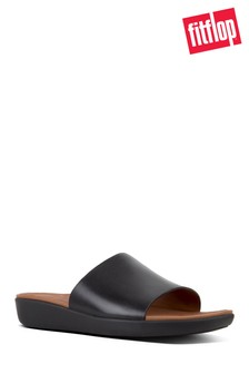 FitFlop™ Black Steffy Dress Pool Slide Leather Sandal