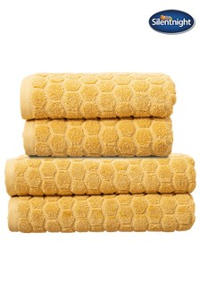 Set of 4 Silentnight Ochre Honeycomb Towel Bale