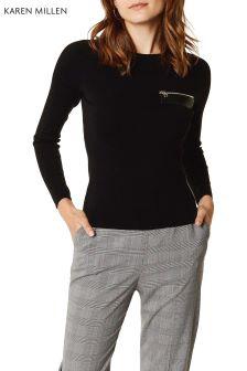 Karen Millen Black PU Zip Detail Jumper
