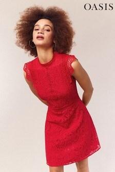 Oasis Red Lace Trimmed Skater Dress