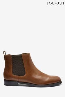 Ralph Lauren Tan Leather Chelsea Boots