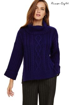 Phase Eight Purple Eleonora Cable Knit Jumper