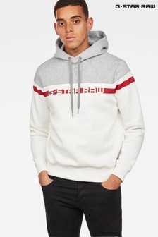 G-Star Milk/Grey HTR Graphic 14 Core Hooded Sweater