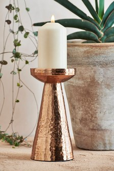 Hammered Metal Pillar Candle Stick