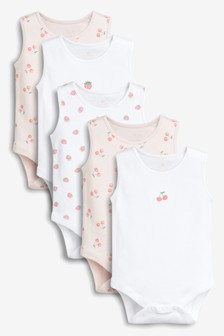 Strawberry And Cherry Print Vests Five Pack (0mths-2yrs)