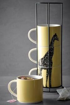 Set of 4 Giraffe Stacking Mugs