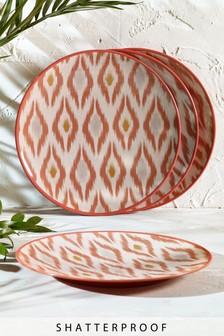 Set of 4 Ikat Patterned Melamine Dinner Plates
