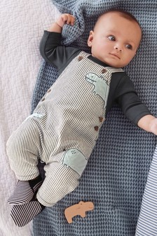 Stripe Hippo Dungarees And Bodysuit Set (0mths-2yrs)
