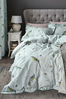 Cotton Sateen Chinoiserie Bird Duvet Cover and Pillowcase Set