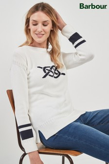Barbour® White Rope Knit Sweater