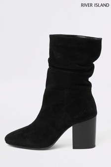 River Island Black Slouch Boot