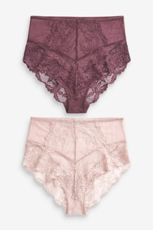 High Waist Lace Knickers Two Pack