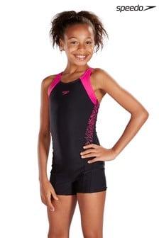 Speedo® Black And Pink Splice Legsuit
