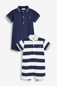 2 Pack Stripe Polo Rompers (0mths-3yrs)