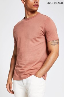 River Island Brown Slim Crew Polo