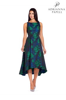 Adrianna Papell Green Charmed Floral Fit And Flare Dress
