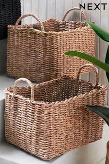 Set of 2 Plastic Wicker Baskets