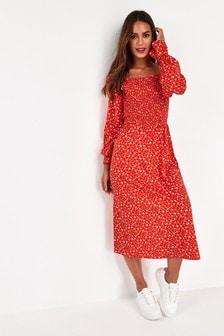 Shirred Square Neck Dress