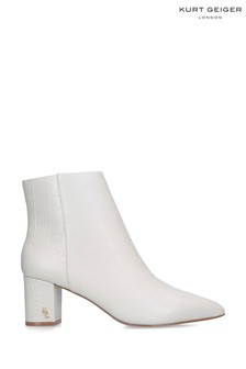 Kurt Geiger Ladies Burlington Cream Croc Print Ankle Boots