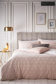 Riva Home Blush Tessellate Geo Duvet Cover And Pillowcase Set