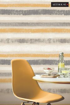 Arthouse Yellow Painted Stripe Wallpaper