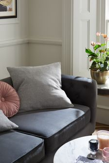 Silver Grey Heavyweight Chenille Large Square Cushion