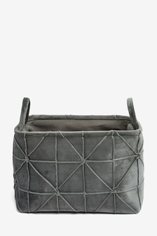 Pleated Velvet Storage Basket