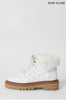 River Island White Fluffy Tough Lace-Up Boots
