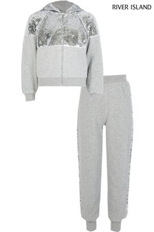 River Island Grey Sequin Zip Through Hoody And Joggers Set