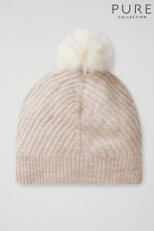 Pure Collection Natural Cashmere Ribbed Hat