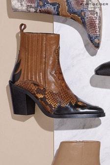 Kurt Geiger Ladies Damen Tan Snake Print Boots