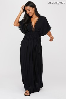 Accessorize Black Double Channel Maxi Dress