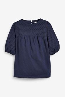 Short Sleeve Broderie Top