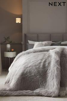 Grey Long Faux Fur Throw
