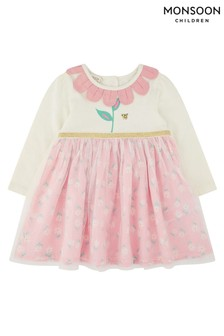Monsoon Newborn Baby Dolcy 2-In-1 Dress
